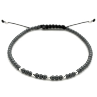 Adjustable Hematite & Crystal Bracelet
