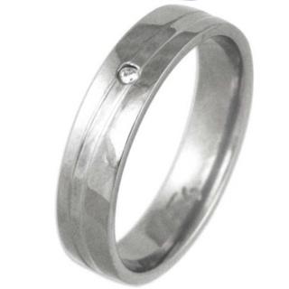 Swell Polished Titanium Diamond Ring