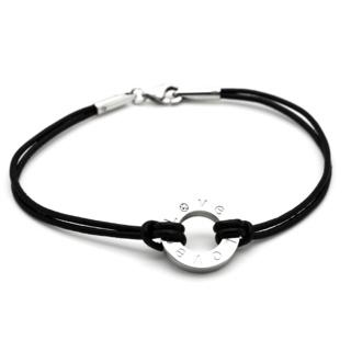 Black Leather Crystal Love Charm Bracelet