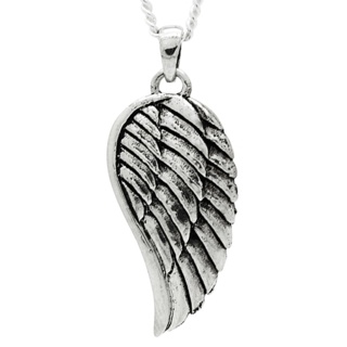 Oxidised Silver Angel Wing Necklace