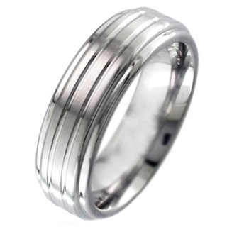 Shoulder Cut Flat Profile Two-Tone Grooved Titanium Ring.