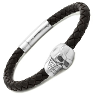 Brown Leather Steel Skull Bracelet