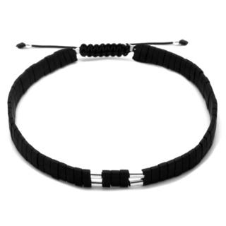 Black Miyuki Bead & Silver Bracelet