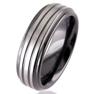 Two Tone Flat Profile Zirconium Ring