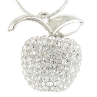 Silver Crystal Apple Necklace