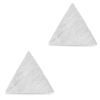 Satin Silver Triangle Earrings