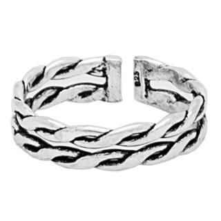 Silver 925 Dual Band Oxidised Toe Ring