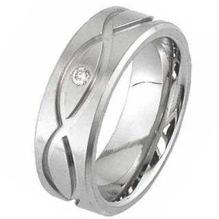 Flat Profile Diamond Titanium Ring with a Celtic Design