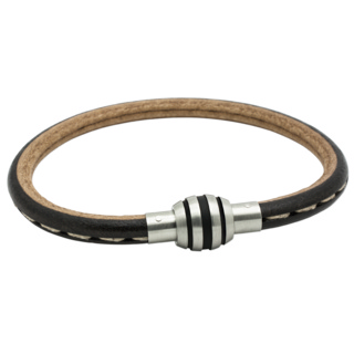 Black Leather with Black Striped Stainless Steel Clasp