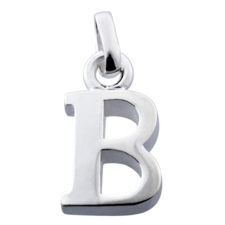 Polished Silver Letter B Charm