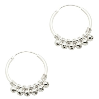 925 Silver Beaded Hoop Earrings