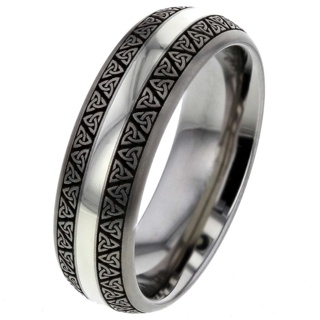 Celtic Titanium Ring with White Gold Inlay