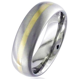 Dome Profile Gold Inlaid Titanium Wedding Ring