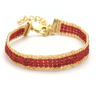 Gold Plated Red & Gold Beaded Bracelet