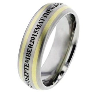 Engraved Titanium Wedding Ring with Inlaid Gold