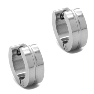 Mini Stainless Steel Ridged Huggie Earrings