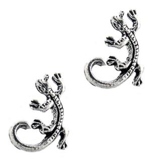 Detailed Silver Gecko Earrings