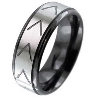 Flat Profile Two Tone Zirconium Ring with Chevron Detailing