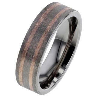 Rose Gold Inlaid Titanium Wedding Ring