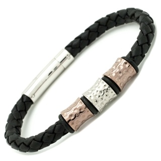 Rose Gold Titanium beads on a Black Woven leather Bracelet