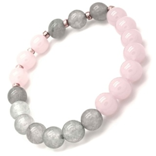 Rose Quartz & Grey Agate Rose Gold Bracelet