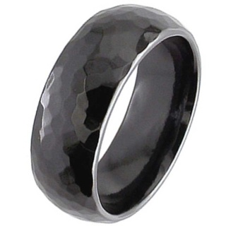 Dome Profile Black Zirconium Wedding Ring with Hammered Effect