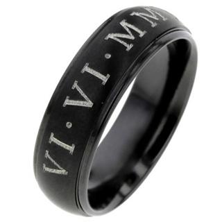Black Zirconium Ring with Custom Roman Numeral Date