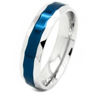Faceted Steel Neon Blue Ring
