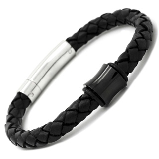 Black Titanium Bead & Leather Bracelet