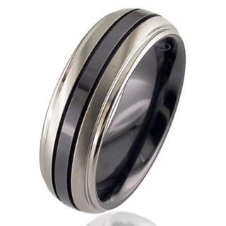Two Tone Dome Profile Zirconium Wedding Ring