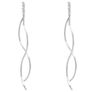 925 Silver Curved Pull Through Earrings
