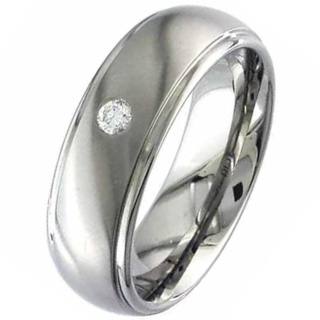 Two Tone Dome Profile Diamond Set Titanium Wedding Ring