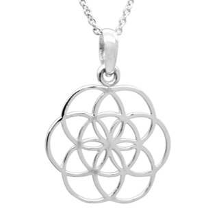 Seven Circle 925 Silver Flower of Life Necklace