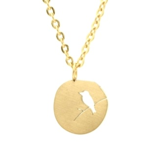 Gold Circular Bird Necklace