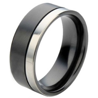 Flat Profile Two Tone Zirconium Ring