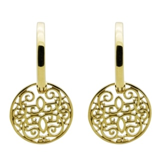 Gold Hoop with Circular Ornate Drop Earrings