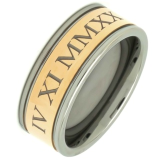Personalised Roman Numeral Rose Gold Tungsten Carbide Ring